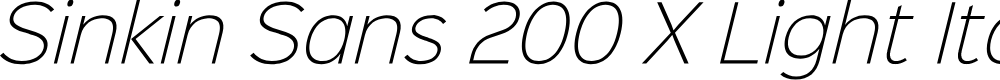 Preview image for Sinkin Sans 200 X Light Italic