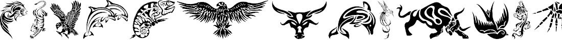 Preview image for Tribal Animals Tattoo Designs Font