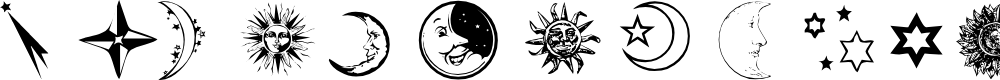 Preview image for Sun, Moon & Stars Font