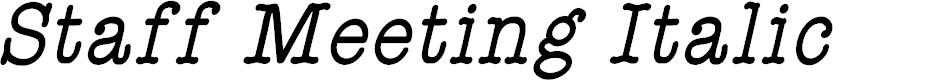 Preview image for StaffMeetingPlainItalic Font