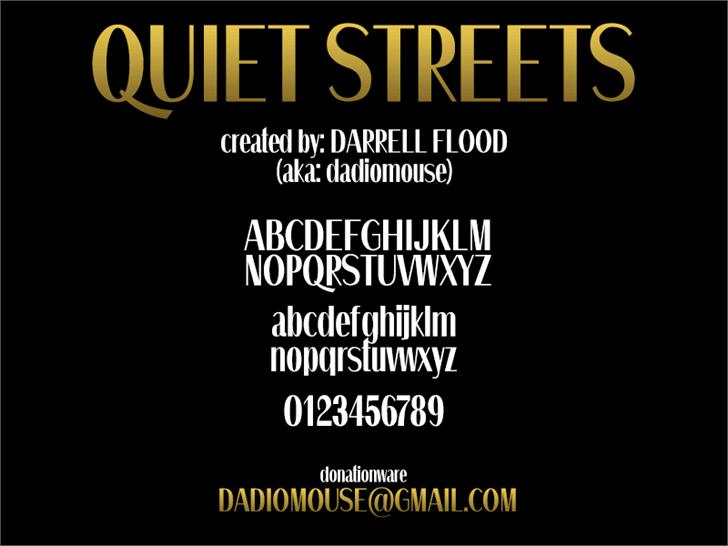 Quiet Streets Font text poster