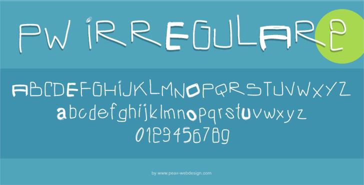 PWIrregular2 Font screenshot design