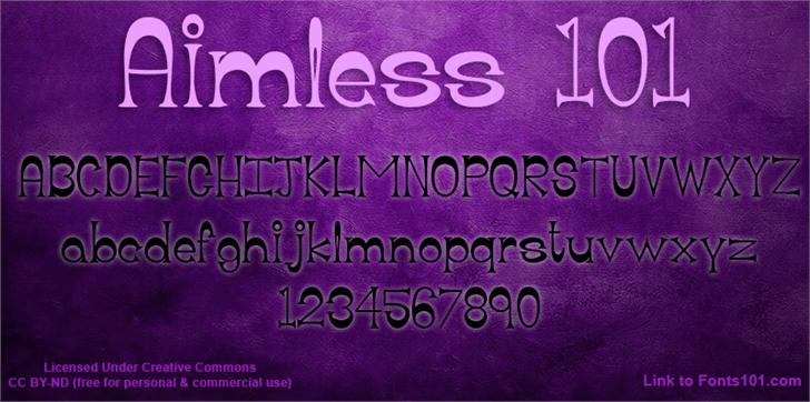 Aimless 101 Font text book