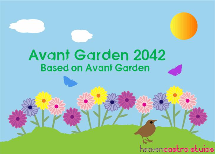 Avant Garden 2042 Font flower vector graphics